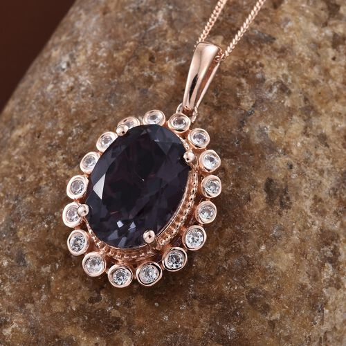 Alexandria Quartz (Ovl 5.90 Ct), Natural Cambodian Zircon Pendant With Chain in Rose Gold Overlay Sterling Silver 6.250 Ct.