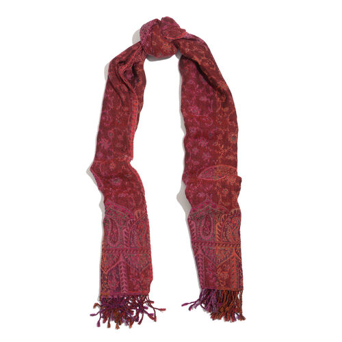One Time Deal Designer Inspired Wool Brown and Multi Colour Paisley Pattern Scarf with Fringes (Size 180x70 Cm)