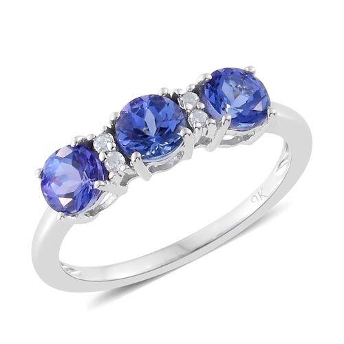 9K White Gold 1.56 Ct AA Tanzanite Ring with Diamond