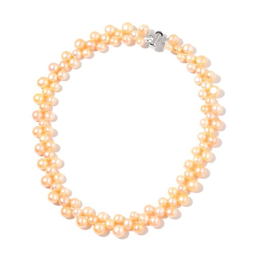 Fresh Water Peach Pearl Necklace (Size 17) in Rhodium Plated Sterling Silver