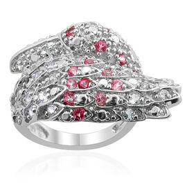 Mystic Pink Coated Topaz (Rnd), White Topaz and Sky Blue Topaz Ring in Platinum Overlay Sterling Silver 1.510 Ct.