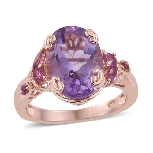 Rose De France Amethyst (Ovl 5.30 Ct), Rhodolite Garnet Ring in Rose Gold Overlay Sterling Silver 5.750 Ct.