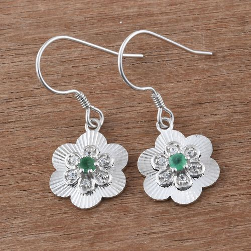 Brazilian Emerald (Rnd), White Zircon Hook Earrings in Sterling Silver 0.530 Ct.