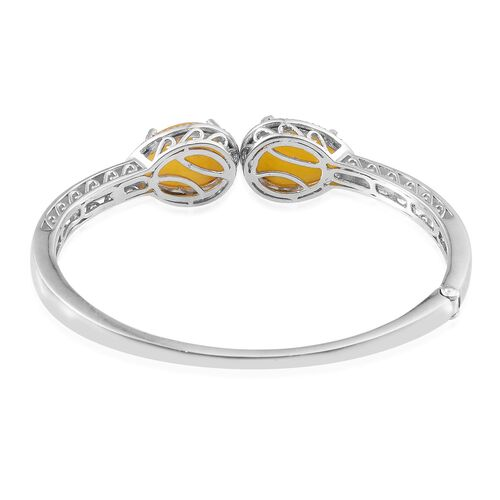 Yellow Jade (Pear), Diamond Bangle (Size 7.5) in Platinum Overlay Sterling Silver 23.280 Ct.