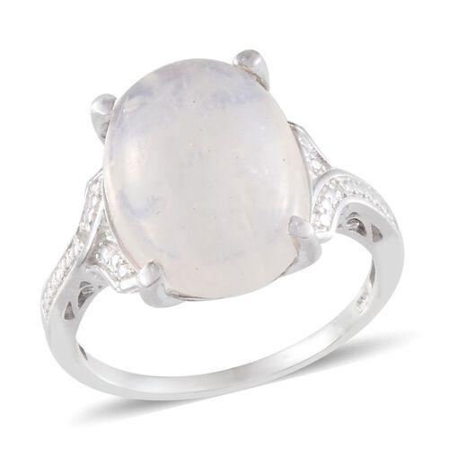 Ceylon Rainbow Moonstone (Ovl 12.00 Ct), Diamond Ring in Platinum Overlay Sterling Silver 12.010 Ct.
