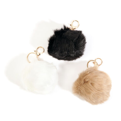 Set of 3 - White, Black and Chocolate Colour Pom Pom Key Chains (Size 10 Cm) in Yellow Gold Tone