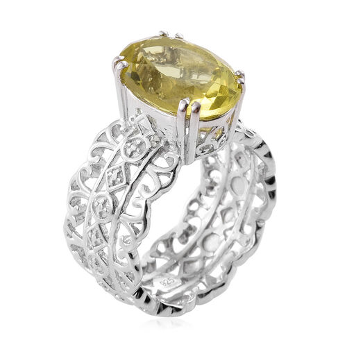 Natural Green Gold Quartz (Ovl) Solitaire Ring in Platinum Overlay Sterling Silver 5.750 Ct.