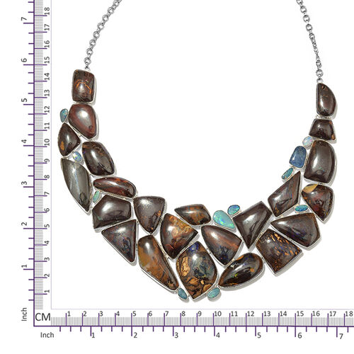 One Off A Kind- Boulder Opal Rock and Opal Double Necklace (Size 18 with 1 inch Extender) in Sterling Silver 602.900 Ct. Silver wt. 69.12 Gms.