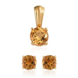 Citrine (Rnd) 1.50 Carat Solitaire Silver Pendant and Stud Earrings in 14K Gold Overlay (with Push Back)