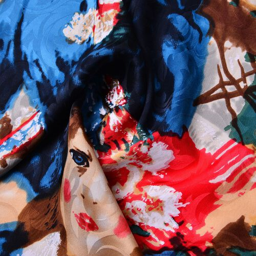 One Time Deal-Designer Inspired -100% Mulberry Silk Red, Blue and Multi Colour Portrail Pattern Scarf (Size 88x85 Cm)