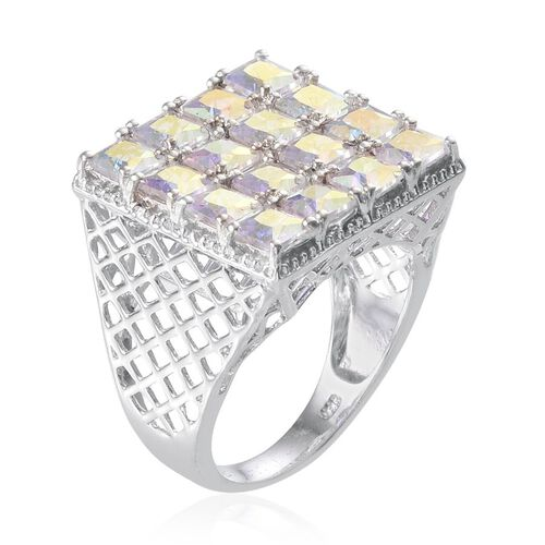 Mercury Mystic Topaz (Sqr) Ring in Platinum Overlay Sterling Silver 6.250 Ct.