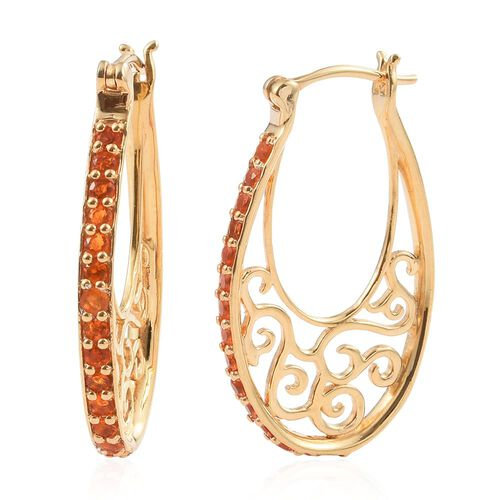 AA Jalisco Fire Opal (Rnd) Hoop Earrings (with Clasp) in 14K Gold Overlay Sterling Silver 1.000 Ct.