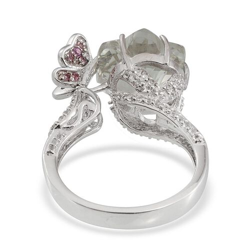 GP Green Amethyst, Pink Tourmaline, White Topaz and Kanchanaburi Blue Sapphire Ring in Platinum Overlay Sterling Silver 7.250 Ct.