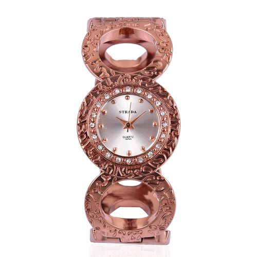 STRADA Japanese Movement Steel Colour Sunshine Pattern Dial with White Austrian Crystal Bangle Watch in Rose Gold Tone