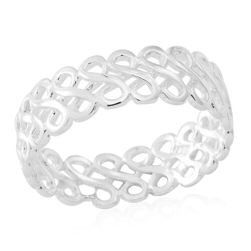 Vicenza Collection- Designer Inspired Sterling Silver Infinity Band Ring, Silver wt 3.15 Gms.