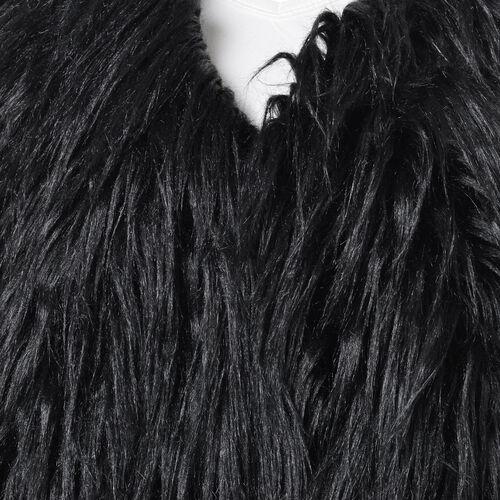 Designer Inspired Black Colour Faux Fur Vest (Size 60X52 Cm)
