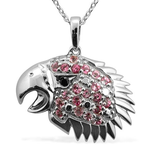 Boi Ploi Black Spinel (Rnd), Pure Pink Mystic Topaz Eagle Head Pendant With Chain in Platinum Overlay Sterling Silver 1.020 Ct.