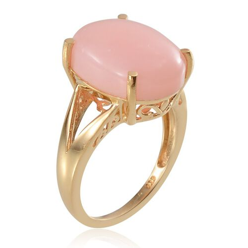 Peruvian Pink Opal (Ovl) Solitaire Ring in Yellow Gold Overlay Sterling Silver 7.500 Ct.