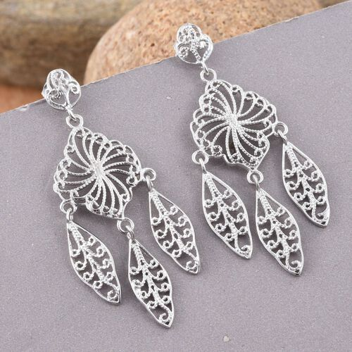 Designer Inspired-Rhodium Plated Sterling Silver Earrings (with Push Back), Silver wt 5.22 Gms.