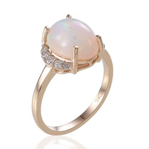 9K Y Gold Ethiopian Welo Opal (Ovl 4.00 Ct), Diamond Ring 4.250 Ct.