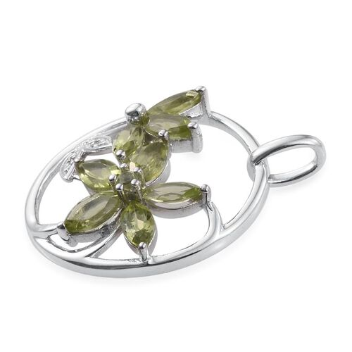 AA Hebei Peridot (Mrq), Diamond Leaves and Floral Pendant in Platinum Overlay Sterling Silver 1.850 Ct.