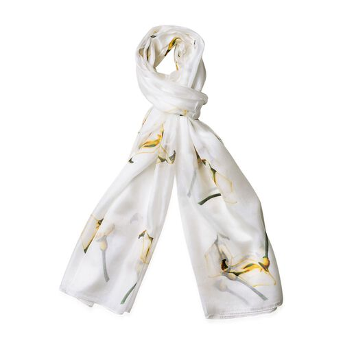 100% Mulberry Silk Light Yellow Calla Floral Pattern White Colour Scarf (Size 170x110 Cm)