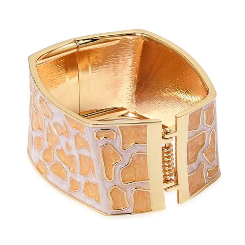 Cheetah Pattern Orange and White Colour Enameled Bangle in Yellow Gold Tone (Size 7.5)