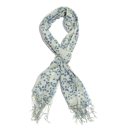 Blue and White Colour Floral Printed Scarf with Tassels (Size 180X70 Cm)