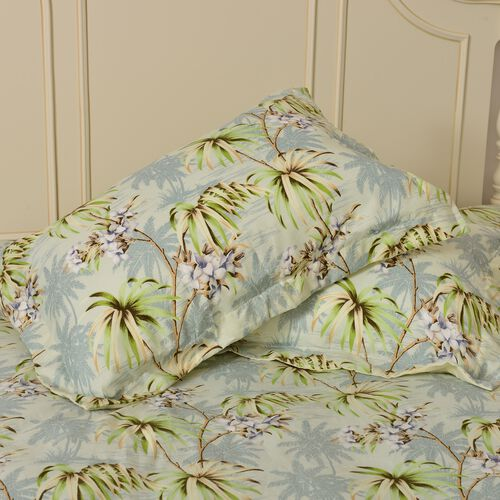 Set of 4 - Double Size Printed Duvet Cover (150x200 cm) with Green, Cream and Multi Colour Floral and Tree Design with King Size Fitted Sheet (150x200 cm) and Two Pillow Shams (50x75 cm)