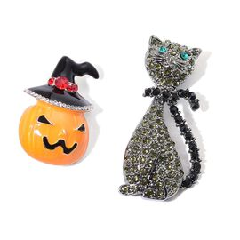 Christmas Special- Set of 2 - White, Red and Multi Colour Austrian Crystal Cat and Orange and Black Colour Enameled Jack-O-Lantern Design Brooch in Black Tone