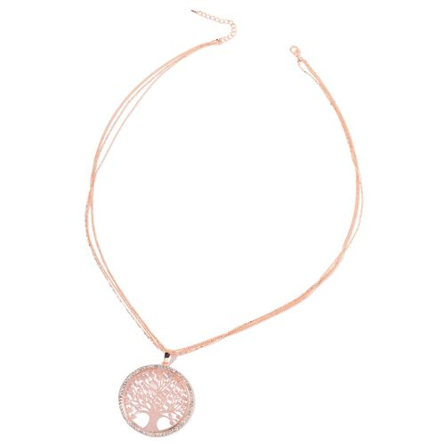 White Austrian Crystal Tree of Life Pendant With Chain (Size 28 with 2 inch Extender) and Hook Earrings in Rose Gold Tone