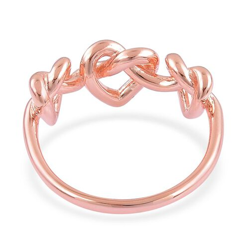 LucyQ Triple Heart Entwine Ring in Rose Gold Overlay Sterling Silver 3.40 Gms.