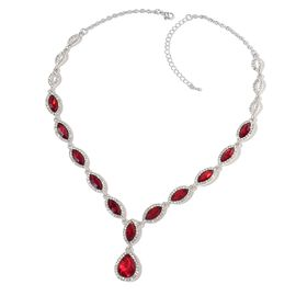 Simulated Ruby and White Austrian Crystal Necklace (Size 20 with 3 inch Extender) in Silver Tone