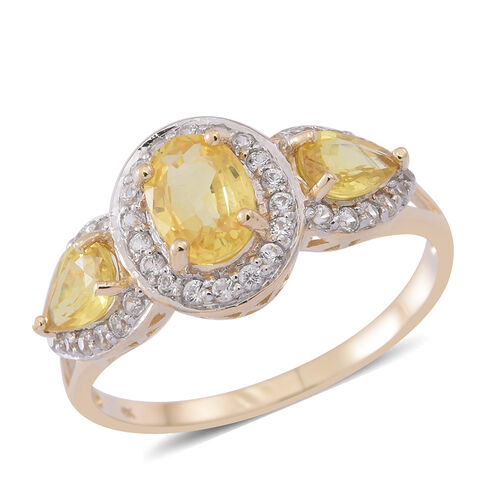 9K Y Gold AA Chanthaburi Yellow Sapphire (Ovl 1.00 Ct), Natural Cambodian White Zircon Ring 2.250 Ct.