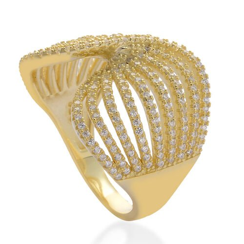 AAA Simulated White Diamond Ring in Yellow Gold Overlay Sterling Silver 1.220 Ct.