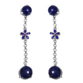 GP Lapis Lazuli (Rnd), Kanchanaburi Blue Sapphire, Rhodolite Garnet Dangle Earrings in Platinum Overlay Sterling Silver Earring  13.000  Ct.