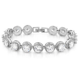 JCK Vegas Collection AAA Simulated Diamond (Rnd) Bracelet (Size 7) in Silver Bond