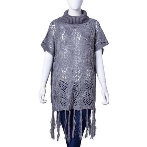 Grey Colour Wavy Pattern Knitted High Neck Vest with Tassels (Size 70x60 Cm)