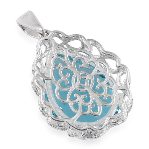 AAA Simulated Aquamarine (Pear) Pendant in Sterling Silver