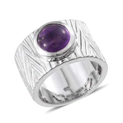 Amethyst (Rnd) Ring in Platinum Overlay Sterling Silver 2.750 Ct.