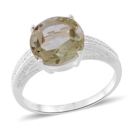 Green Amethyst (Rnd) Solitaire Ring in Sterling Silver 4.750 Ct. Silver wt. 3.32 Gms.