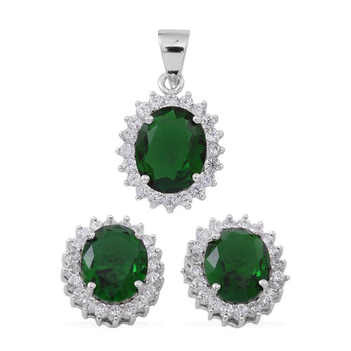 (Option 2) ELANZA AAA Simulated Green Tourmaline (Ovl), Simulated White Diamond Pendant and Stud Earrings (with Push Back) in Rhodium Plated Sterling Silver