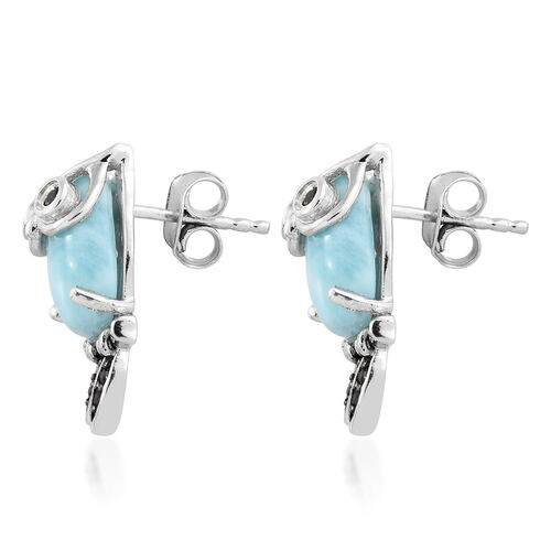 GP Larimar (Ovl), Boi Ploi Black Spinel and Kanchanaburi Blue Sapphire Owl Stud Earrings (with Push Back) in Platinum Overlay Sterling Silver 7.750 Ct.
