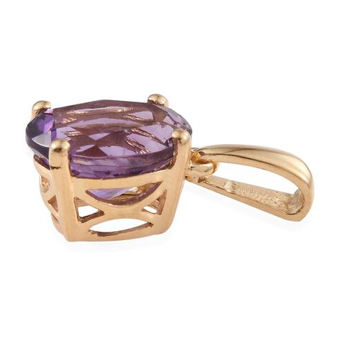 Amethyst 1.50 Ct Silver Solitaire Pendant in Gold Overlay