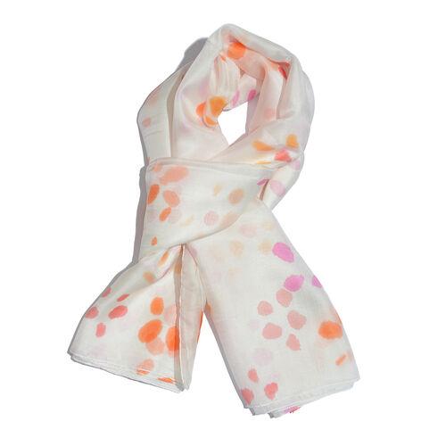 100% Mulberry Silk White, Orange and Multi Colour Handscreen Printed Scarf (Size 180x100 Cm)