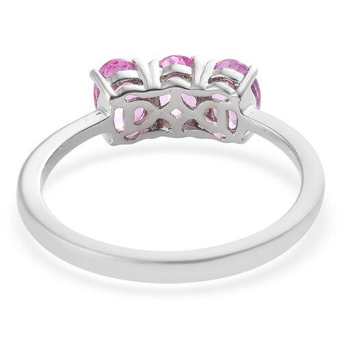 RHAPSODY 950 Platinum 1.50 Carat AAAA Pink Sapphire Trilogy Ring