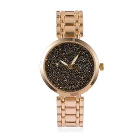 GENOA Japanese Movement Black Dial Water Resistant Watch with Black Swarovski Crystals in Gold Tone with Chain Strap