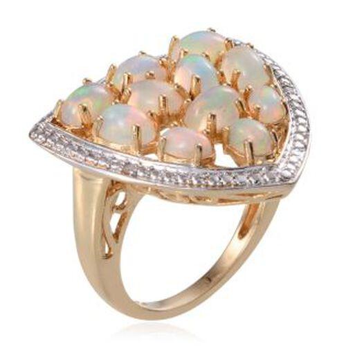 Ethiopian Welo Opal (Ovl), Diamond Ring in 14K Gold Overlay Sterling Silver 3.020 Ct.