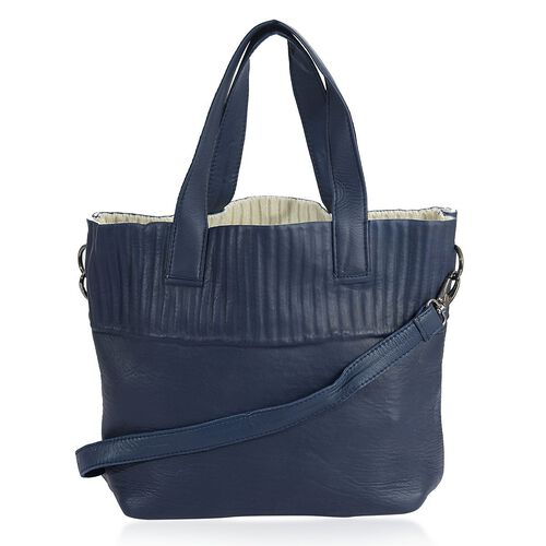 Set of 2 - Navy Blue and White Colour Large and Small Genuine Leather Handbag with Removable Shoulder Strap (Size 28x34x11, 22x21 Cm)