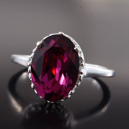 J Francis Crystal from Swarovski - Fuchsia Colour Crystal (Ovl) Solitaire Ring in Sterling Silver